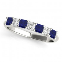 Diamond & Blue Sapphire Princess Wedding Band Ring 14k White Gold 0.70ct
