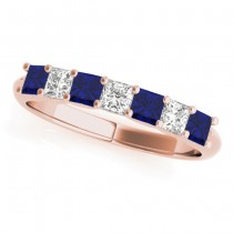 Diamond & Blue Sapphire Princess Wedding Band Ring 18k Rose Gold 0.70ct