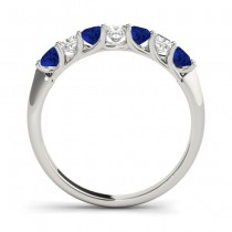 Diamond & Blue Sapphire Princess Wedding Band Ring Platinum 0.70ct