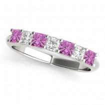 Diamond & Pink Sapphire Princess Wedding Band Ring 18k White Gold 0.70ct