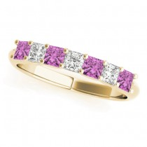 Diamond & Pink Sapphire Princess Wedding Band Ring 18k Yellow Gold 0.70ct