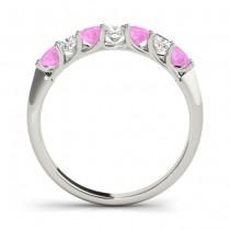 Diamond & Pink Sapphire Princess Wedding Band Ring Platinum 0.70ct