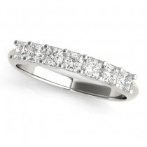Diamond Princess-cut Wedding Band Setting Platinum 0.70ct