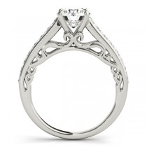 Vintage Style Cathedral Diamond Engagement Ring 14k White Gold 2.33ct
