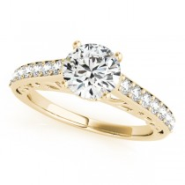 Vintage Style Cathedral Diamond Engagement Ring 18k Yellow Gold 2.33ct