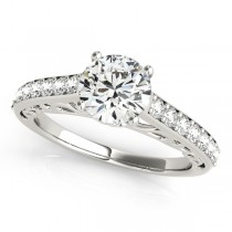 Vintage Style Cathedral Diamond Engagement Ring Palladium (2.33ct)