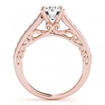 Vintage Style Cathedral Engagement Ring Bridal Set 18k R. Gold (2.50ct)