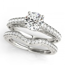 Vintage Style Cathedral Engagement Ring Bridal Set Palladium (2.50ct)