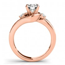 Swirl Design Diamond Engagement Ring Setting 14k Rose Gold 0.38ct