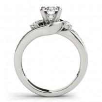 Swirl Design Diamond Engagement Ring Setting 14k White Gold 0.38ct
