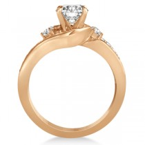 Diamond Swirl Engagement Ring & Band Bridal Set 14k Rose Gold 0.58ct