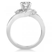 Diamond Swirl Engagement Ring & Band Bridal Set 14k White Gold 0.58ct