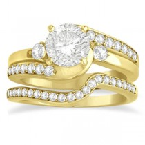 Diamond Swirl Engagement Ring & Band Bridal Set 14k Yellow Gold 0.58ct