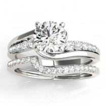 Diamond Swirl Engagement Ring & Band Bridal Set 14k White Gold 0.50ct