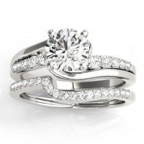 Diamond Swirl Engagement Ring & Band Bridal Set 14k White Gold 0.50ct