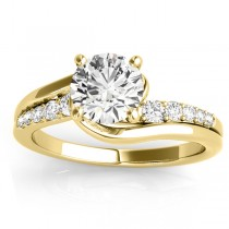 Diamond Swirl Engagement Ring & Band Bridal Set 14k Yellow Gold 0.50ct