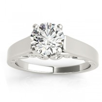 Bridal Antique Solitaire Engagement Ring 14k White Gold
