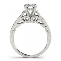 Bridal Antique Solitaire Engagement Ring 18k White Gold
