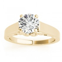 Bridal Antique Solitaire Engagement Ring 18k Yellow Gold