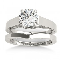 Bridal Antique Solitaire Bridal Set 14k White Gold