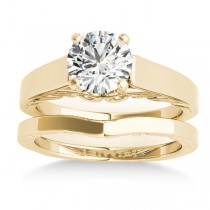 Bridal Antique Solitaire Bridal Set 14k Yellow Gold