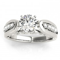 Diamond Accented Single Row Engagement Ring Setting 14k White Gold (0.29ct)