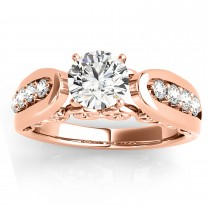Diamond Accented Single Row Engagement Ring Setting 18k Rose Gold (0.29ct)