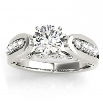Diamond Accented Single Row Engagement Ring Setting Palladium (0.29ct)