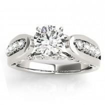 Diamond Accented Single Row Engagement Ring Setting Palladium (0.20ct)