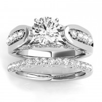 Diamond Accented Single Row Setting Bridal Set 14k White Gold (0.40ct)