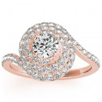 Swirl Double Diamond Halo Engagement Ring Setting 14k Rose Gold 0.88ct
