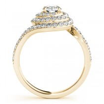 Swirl Double Diamond Halo Engagement Ring Setting 14k Yellow Gold 0.88ct