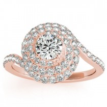 Swirl Double Diamond Halo Engagement Ring Setting 18k Rose Gold 0.88ct
