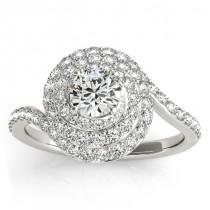 Swirl Double Diamond Halo Engagement Ring Setting 18k White Gold 0.88ct