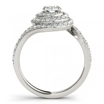 Swirl Double Diamond Halo Engagement Ring Setting 18k White Gold 0.88ct