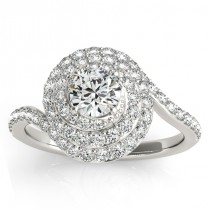 Swirl Double Diamond Halo Engagement Ring Setting Palladium 0.88ct