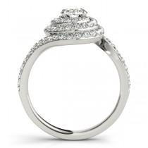 Swirl Double Diamond Halo Engagement Ring Setting Platinum 0.88ct