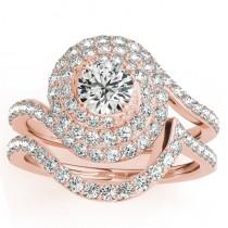 Diamond Double Halo Engagement Ring & Wedding Band 14k Rose Gold 1.13ct
