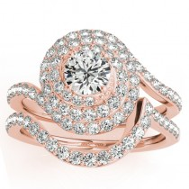 Diamond Double Halo Engagement Ring & Wedding Band 18k Rose Gold 1.13ct