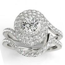 Diamond Double Halo Engagement Ring & Wedding Band Platinum 1.13ct