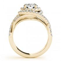 Infinity Twist Diamond Halo Engagement Ring 14k Yellow Gold (1.63ct)