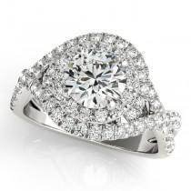 Infinity Diamond Halo Ring & Curved Band Bridal Set 14k W. Gold (1.83ct)