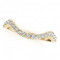 Curved Semi-Eternity Diamond Wedding Band 14k Yellow Gold (0.20ct)