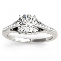 Diamond Accented Engagement Ring Setting 14k White Gold (0.11ct)