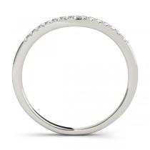 Diamond Compressed Contour Wedding Band 14k White Gold (0.09ct)