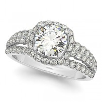 Pave Set Halo Diamond Engagement Ring w/ accents 14k White Gold 1.63ct