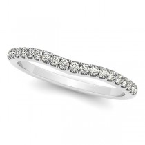 Diamond Semi Eternity Contour Wedding Band in 14k White Gold 0.20ct