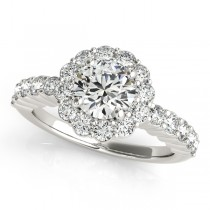 Floral Halo Round Diamond Engagement Ring 14k White Gold (1.61ct)