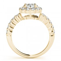 Floral Halo Round Diamond Engagement Ring 14k Yellow Gold (1.61ct)