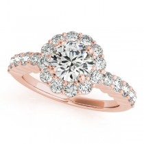 Floral Halo Round Diamond Engagement Ring 18k Rose Gold (1.61ct)
